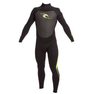 Rip Curl Kids Dawn Patrol 3/2 FL Wetsuit (Black/Charcoal / Lemon, 4)