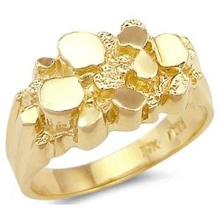11   New 14k Solid Yellow Gold Large Mens Nugget Ring Band Jewelry