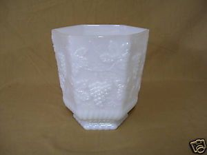 Anchor Hocking Fire King Vintage Grape Milk Glass Vase