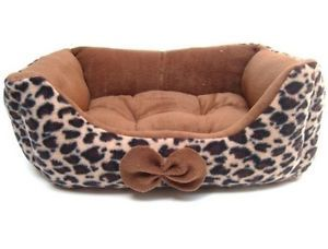 Warm Leopard Print Pet Dog Cat Handmade Bed House Sofa Bed Brown s M