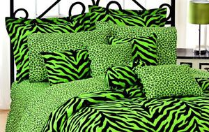 New 2 Lime Green Cheetah Leopard Print Standard Size Pillow Cases Bedding