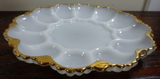 Vintage Anchor Hocking Fire King Milk Glass Gold Deviled Egg Plates Platters 10""