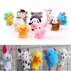 Set 10 Animal Finger Puppets Cartoon Plush Cloth Toys Doll Baby Kids Bed Story