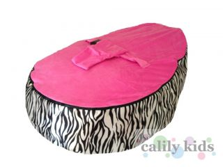 Baby Toddler Kids Portable Bean Bag Seat Snuggle Bed Zebra Stripe Hot Pink