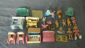 Fisher Price Loving Family Lot Children Baby Dolls Dogs Accessories Furniture