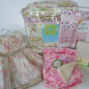 Li'L Kids Chabby Chic Rose Floral 12pc Crib Bedding Set Baby Girl Pink Green