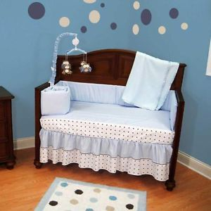 Solid Light Blue and Brown Chocolate Baby Boy Polka Dot Nursery Crib Bedding Set
