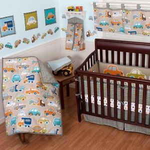 Cars and Trucks Transportation Print Theme Baby Boy 10P Nursery Crib Bedding Set