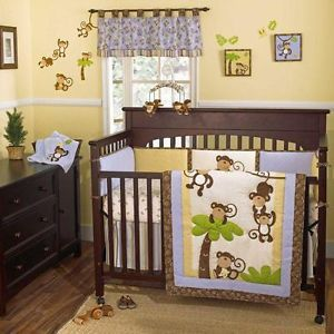 Jungle Safari Blue and Brown Themed Baby Boy 5pc Nursery Monkey Crib Bedding Set