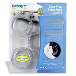 Safety 1st Toddler Baby Child 5 Proof Clear View Stove Knob Covers Hinged Lid