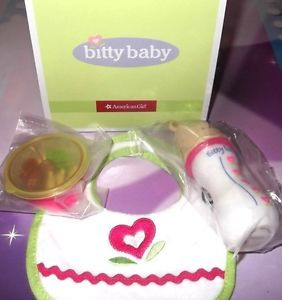 American Girl Bitty Baby Twins Feeding Set Bib Bear Baby Bottle Baby Food New