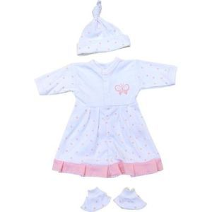 Premature Preemie Prem Baby Clothes Girls Pink Dresses Hats Booties Outfit Set