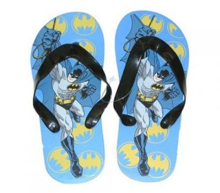 Lot of 3 Pair Batman Kids Boys Slippers Flip Flops Thong Beach Sandals Size 2 3