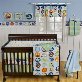 Sumersault Little Getaways 10pc Baby Transportations Boy Crib Bedding Set