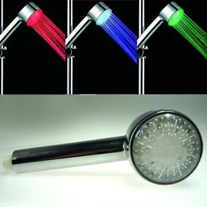 Temperature Sensor 3 Colors Changing LED Shower Head Light Bathroom Home Water