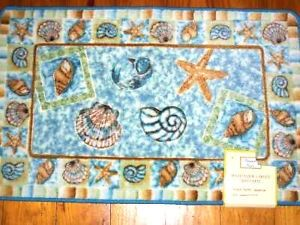 Seashells Starfish Bath Mat Tropical Decor Beach Sea Shells Throw Rug Blue Rugs