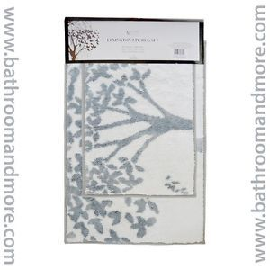 Blue and Ivory 2 Piece Bathroom Mat Rug Set Tree Design Non Skid Canvas Backed