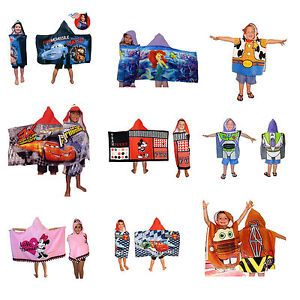 Childrens Boys Girls Disney Character Hooded Poncho Towels Bath Beach Pool
