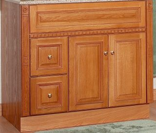 "JSI Newport Oak Bathroom 36"" Vanity LH Drawers Medicine Cabinet Mirror Lights"