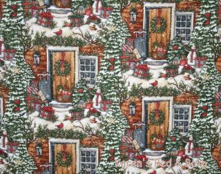 Christmas Door Wreath Presents Snowman Bird Snow Trees Curtain Valance New