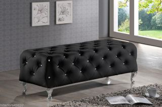 Black Faux Crystal Leather Tufted Chrome Legs Bed End Bench Hollywood Chic
