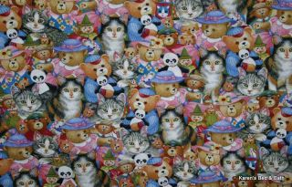 Cat Feline Cats Teddy Bear Toys Kitten Blue Pink White Gray Curtain Valance New