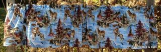 Wolf Pack Wolves North Country Adventure Scenic Mountain Blue Curtain Valance