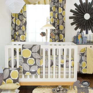 Baby Boy Girl Neutral Yellow Gray Modern Crib Nursery Newborn Luxury Bedding Set