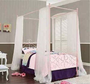 Princess Pink Twin Canopy Bed Girls Children Bedroom Guest Furniture Sale New