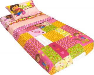5pc Dora Explorer Puppy Full Bedding Set Pink Flowers Hearts Comforter Sheets