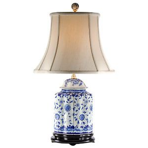 "Blue White Oval Scalloped Traditional Porcelain Bedside Table Lamp 23"" High"