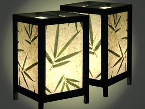 Two Bamboo Leaf Oriental Asian Zen Bedside Table Lamps Real Plugs No Adaptors