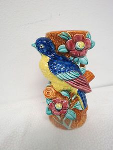 Vintage Ceramic Bird on Tree Bud Trunk Vase Japan Hand Painted Flowers Floral