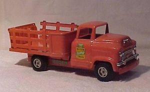 Vintage Buddy L GMC Builders Supply Stake Bed Truck Pink Pressed Steel Toy V G