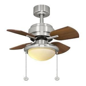 Hampton Bay Metarie 24 in Brushed Nickel Ceiling Fan with Light Kit