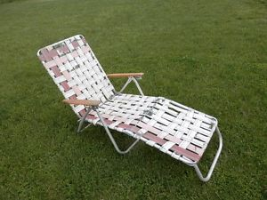 Vtg Old Retro Aluminmum Frame Webbed Folding Chaise Lounge Lawn Chair Wood Arms
