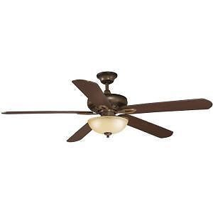 "Hampton Bay Asbury 60"" Ceiling Fan w Light Kit Remote Control Gilded Espresso"