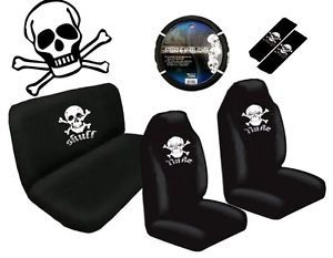 White Skull Crossbones 11pc Car Seat Steering Wheel Cover Interior Set Universal