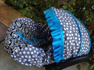 Adorable Infant Car Seat Canopy Cover Fit Most Seat Damask Polka Dots Boy Girl