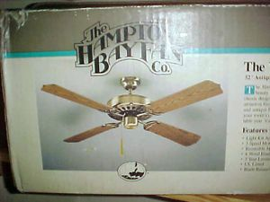 Hampton Bay Windward Fan 52 inch Antique Brass Ceiling Fan Mint in Box