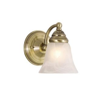 New 1 Light Wall Sconce Lighting Fixture Antique Brass White Alabaster Glass