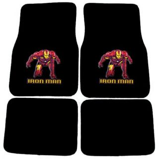 15pc Set Seat Cover Marvel Avenger Iron Man Super Hero Comic Wheel Pad Floor Mat