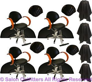 4 Hydraulic Barber Chairs 4 Mats Honey Oak Arms Mat Chair Beauty Salon Equipment