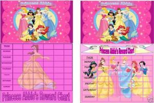 Personalised Disney Princess Reward Chart Fun Stickers