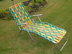 Vintage Aluminum Folding Webbed Chaise Lounge Lawn Chair Multi Position VG Cond
