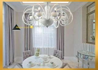 6 Lights Grand Elegant Murano Glass White Chandelier Light Pendant Lamp Ceiling