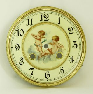 Gorgeous Antique German Thomas Haller Wall Clock Lovely Cupidos on Dial at 1900