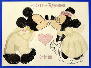 Mickey Minnie Mouse Wedding Sampler –Janlynn Counted Cross Stitch Kit