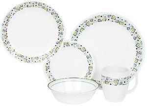 Large 20 PC Corelle Chocolate Mint Dinnerware Set Bonus 4 Lunch Plates New
