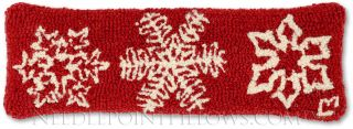 "Hand Hooked White Snowflake Red Holiday Decorative Christmas Pillow 8""x 24"""